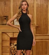 Black Distinctive Backless Mini Sleeveless Halter Bandage Dress PZL2404-Black
