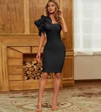 Black Frill Asymmetrical Midi Sleeveless One Shoulder Bandage Dress PZL2408-Black