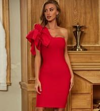 Red Asymmetrical Frill Midi Sleeveless One Shoulder Bandage Dress PZL2408-Red
