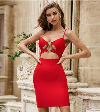 Red Metal Ornamental Buckle Cut Out Mini Sleeveless Strappy Bandage Dress PZL2441-Red