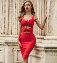 Red Distinctive Cut Out Midi Sleeveless Strappy Bandage Dress PZL2445-Red