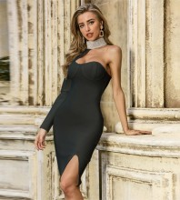 Black Slit Asymmetrical Midi Long Sleeve High Neck Bandage Dress PZL2446-Black