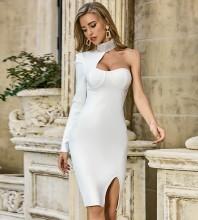White Slit Asymmetrical Midi Long Sleeve High Neck Bandage Dress PZL2446-White