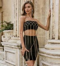 Black Tassels Cut Out Mini Sleeveless Strapless Bandage Dress PZL2453-Black