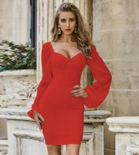 Red Tulle Striped Mini Long Sleeve Square Collar Bandage Dress PZL2454-Red