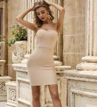 Nude Backless Striped Mini Sleeveless Strapless Bandage Dress PZL2456-Nude