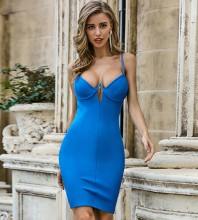 Blue Slit Hollow out Mini Sleeveless Strappy Bandage Dress PZL2457-Blue