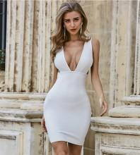 White Distinctive Backless Mini Sleeveless V Neck Bandage Dress PZL2462-White