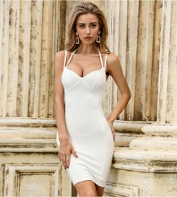 White Backless Plain Mini Sleeveless Strappy Bandage Dress PZL2465-White