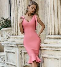 Pink Frill Fishtail Over Knee Sleeveless V Neck Bandage Dress PZL2467-Pink