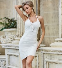 White Tie Wrinkled Mini Sleeveless Halter Bandage Dress PZL2469-White