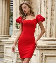 Red Backless Plain Mini Short Sleeve Square Collar Bandage Dress PZL2478-Red