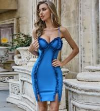 Blue Slit Frill Mini Sleeveless Strappy Bandage Dress PZL2479-Blue