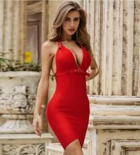 Red With Belt Backless Mini Sleeveless Halter Bandage Dress PZL2480-Red