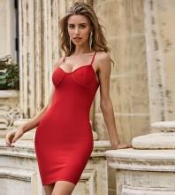 Red Backless Plain Mini Sleeveless Strappy Bandage Dress PZL2486-Red