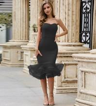 Black Frill Fishtail Over Knee Sleeveless Strapless Bandage Dress PZL2488-Black