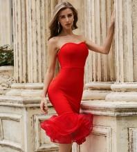Red Frill Fishtail Over Knee Sleeveless Strapless Bandage Dress PZL2488-Red
