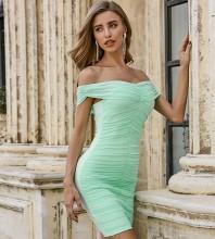 Light Green Backless Wrinkled Midi Short Sleeve Off Shoulder Bandage Dress PZL2493-Light-Green