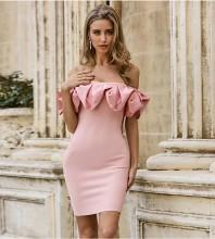 Pink Distinctive Frill Mini Short Sleeve Off Shoulder Bandage Dress PZL2498-Pink