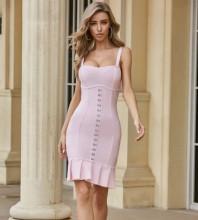 Pink Backless Frill Mini Sleeveless Strappy Bandage Dress PZL2521-Pink