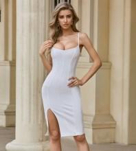 White Slit Striped Midi Sleeveless Strappy Bandage Dress PZL2526-White
