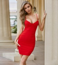 Red Backless Wrinkled Mini Sleeveless Strappy Bandage Dress PZL2530-Red