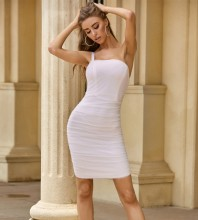 White Backless Wrinkled Mini Sleeveless Strappy Bandage Dress PZL2536-White