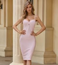 Pink Slit Backless Midi Sleeveless Strappy Bandage Dress PZL2538-Pink