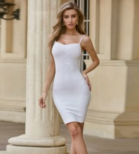 White Backless Plain Mini Sleeveless Strappy Bandage Dress PZL2546-White