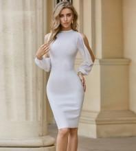 White Distinctive Cut Out Midi Long Sleeve Round Neck Bandage Dress PZL2547-White