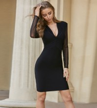Black Plain Mesh Mini Long Sleeve V Neck Bandage Dress PZL2553-Black