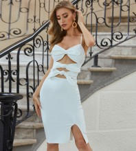 White Slit Hollow out Midi Sleeveless Strappy Bandage Dress PZL2569-White