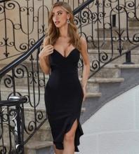Black Backless Slit Over Knee Sleeveless Strappy Bandage Dress PZL2579-Black