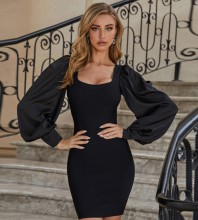 Black  Plain Mini Long Sleeve Square Collar Bandage Dress PZL2580-Black