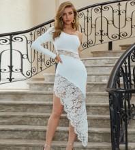 White Asymmetrical Lace Over Knee Long Sleeve One Shoulder Bandage Dress PZL2583-White