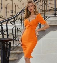 Orange Slit Frill Midi Short Sleeve Square Collar Bandage Dress PZL2598-Orange