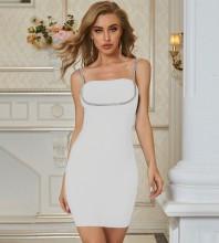 White Drill Chain Plain Mini Sleeveless Strappy Bandage Dress PZL2612-White