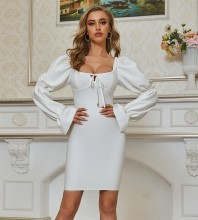 White Tie Frill Mini Long Sleeve Square Collar Bandage Dress PZL2640-White