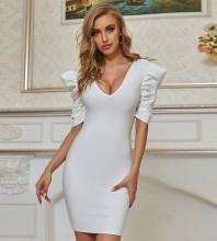 White  Backless Mini Short Sleeve V Neck Bandage Dress PZL2649-White