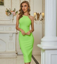 Fluorescent Green Backless Slit Over Knee Sleeveless Strappy Bandage Dress PZL2650-Fluorescent-Green