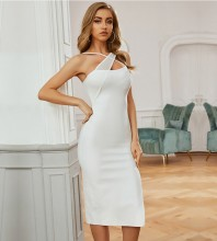 White Backless Slit Over Knee Sleeveless Strappy Bandage Dress PZL2662-White