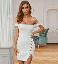 White Slit Striped Mini Short Sleeve Off Shoulder Bandage Dress PZL2669-White