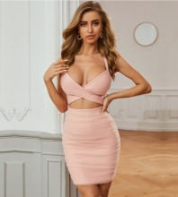 Pink Wrinkled Cut Out Mini Sleeveless Strappy Bandage Dress PZL2675-Pink