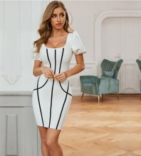 White Distinctive Striped Mini Short Sleeve Square Collar Bandage Dress PZL2676-White