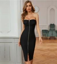 Black Distinctive Zipper Over Knee Sleeveless Strapless Bandage Dress PZL2678-Black