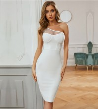 White Mesh Asymmetrical Midi Sleeveless One Shoulder Bandage Dress PZL2682-White