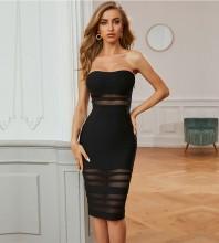 Black Slit Mesh Midi Sleeveless Strapless Bandage Dress PZL2696-Black