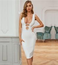 White Striped Hollow Out Midi Sleeveless V Neck Bandage Dress PZL2698-White