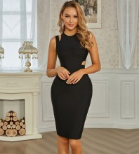 Black Distinctive Cut Out Midi Sleeveless Round Neck Bandage Dress PZL2707-Black