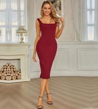 Wine Strappy Sleeveless Over Knee Striped Slit Bandage Dress PZL2730-Wine